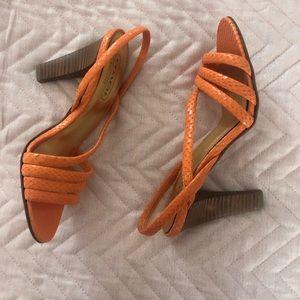 Coach Orange Croc Leather Heels